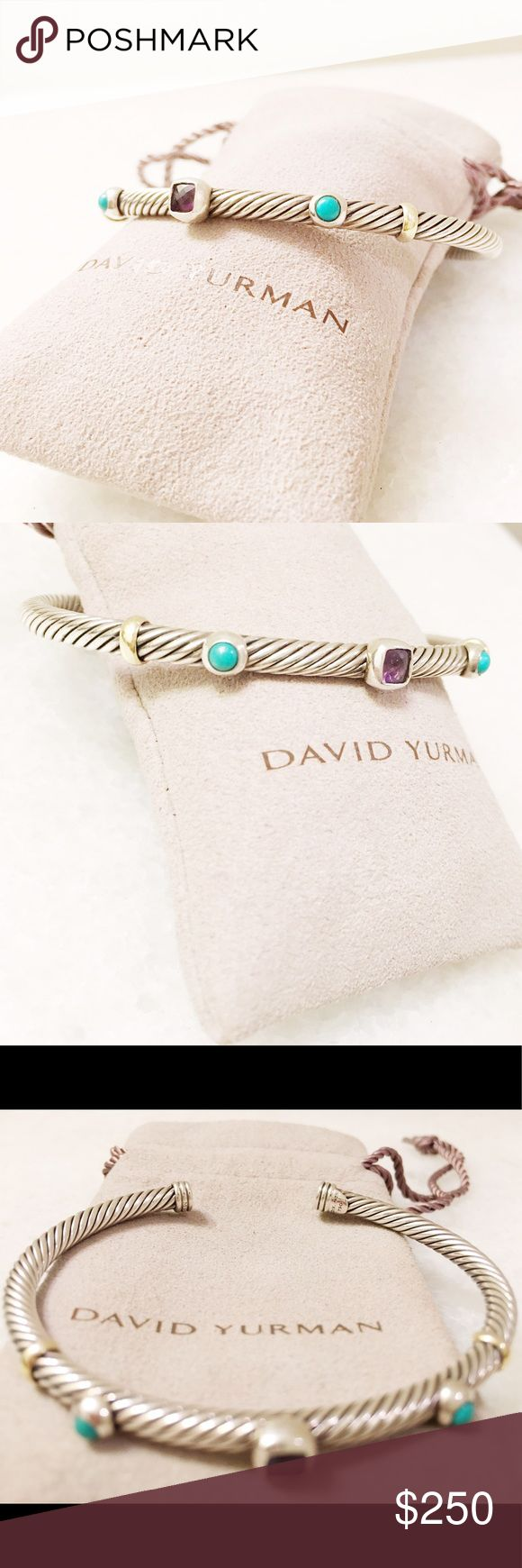 LIMITED EDITION David Yurman Renaissance bracelet Will negotiate 💕David Yurman Renaissance Bracelet with Amethyst, Turquoise, and Gold.   Sterling silver and 18-karat yellow gold Faceted amethyst and cabochon simulated turquoise Cable, 4mm wide  No longer in stock so don't miss this great deal here. Will be heavily discounted from original price of $550 David Yurman Jewelry Bracelets
