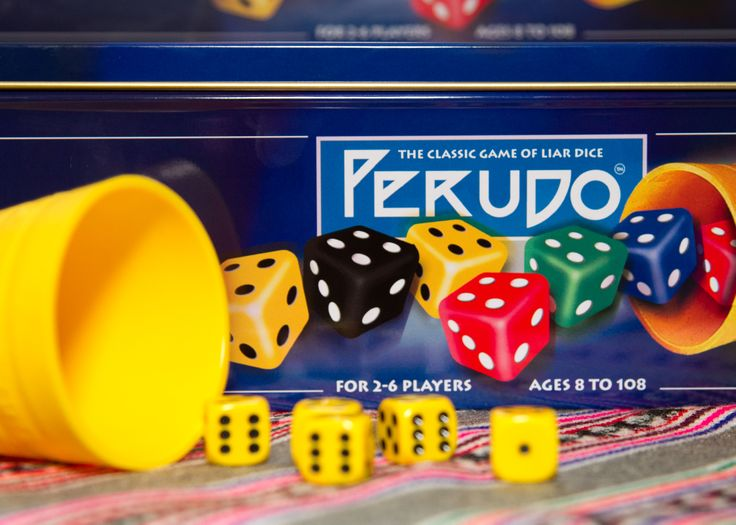 Perudo is a version of the popular liar dice game played in Peru. Part-luck, part-skill and a lot of fun!