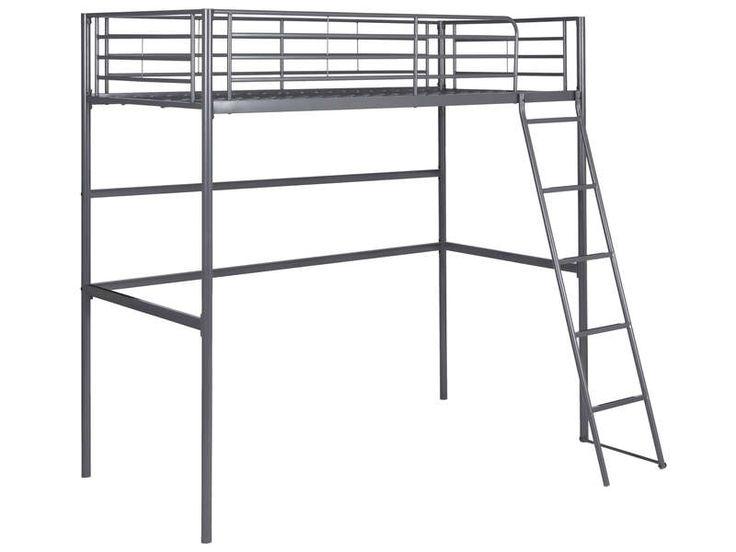 Lit mezzanine 90x190 cm gris