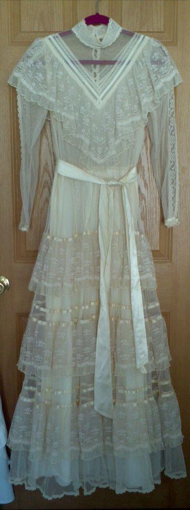 VTG 1960-1970 Gunne Sax Wedding Dress by Jessica McClintock Ivory Color Hippie #JessicaMcClintock