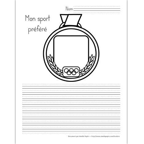 Fichier PDF téléchargeable En noir et blanc seulement 3 pages  Les élèves dessinent ou écrivent le nom de leur sport préféré au centre de la médaille puis ils écrivent un texte qui le décrit en-dessous. Offert avec des lignes trottoirs, des lignes doubles et des lignes simples.