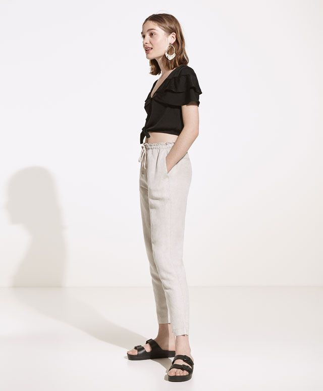 Pantalón lino - Pantalones - BEACHWEAR | Oysho