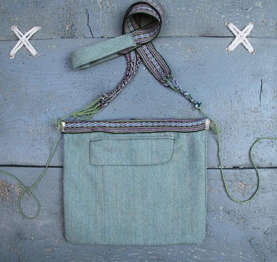 'Eating the goober' handmade purse made from recycled men's clothes and hand-woven textile.  Color: light green