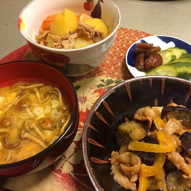 ごはん日記 北あかりが届いたので、久々の肉じゃが、玉ねぎの甘さを引き出して、砂糖無しでも美味しいです(*^^*) - 7件のもぐもぐ - 肉じゃが✨ ナスの味噌炒め✨ なめこ汁✨ 糠漬と柴漬け✨ by mikasuzukiy6s