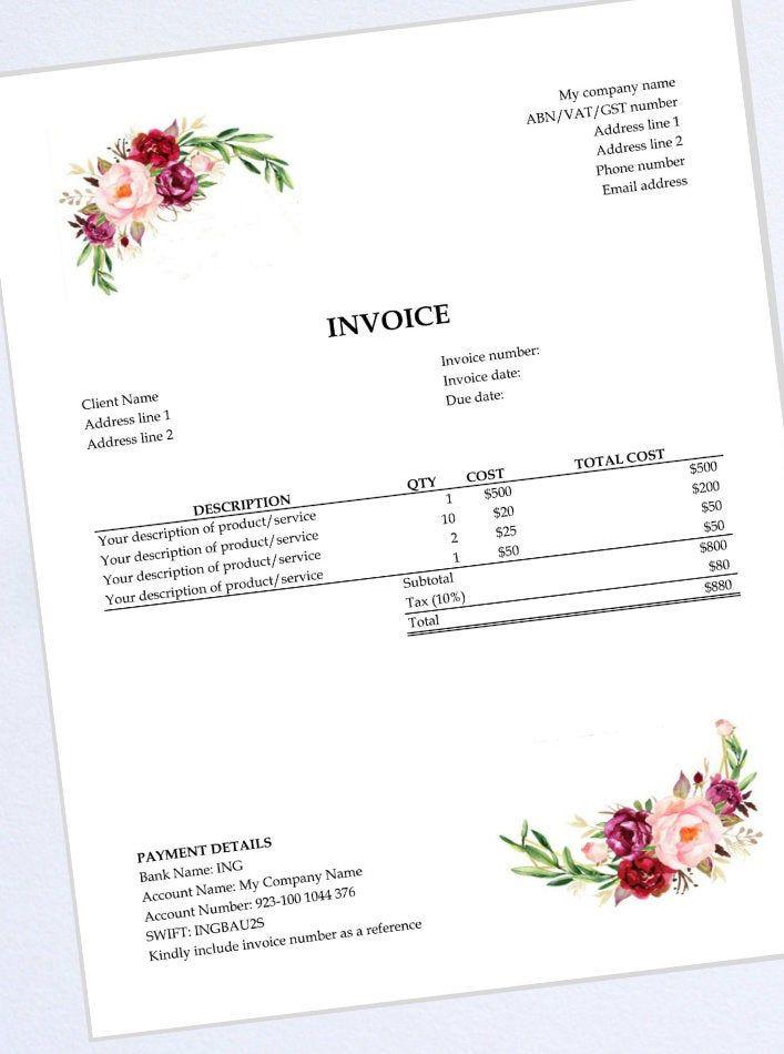 Excel Invoice Template Receipt Bill Business Invoice Etsy Invoice Template Printable Day Planner Work Planner