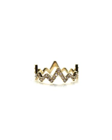 14KT VERMEIL CRYSTAL HEARTBEAT RING