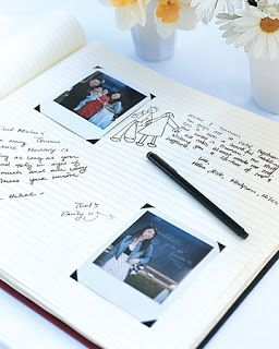 Guest book idea: Have someone in charge of taking Polaroid pictures of the guests as they walk in. After the picture is taken, have them insert them into self adhesive photo corners in the sign in book and write a note next to it.