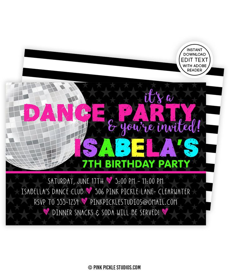 handmadest birthday party invitations%0A Dance Invitation  Dance Party  Dance Birthday  Dance Invitations  Dance Party  Invites