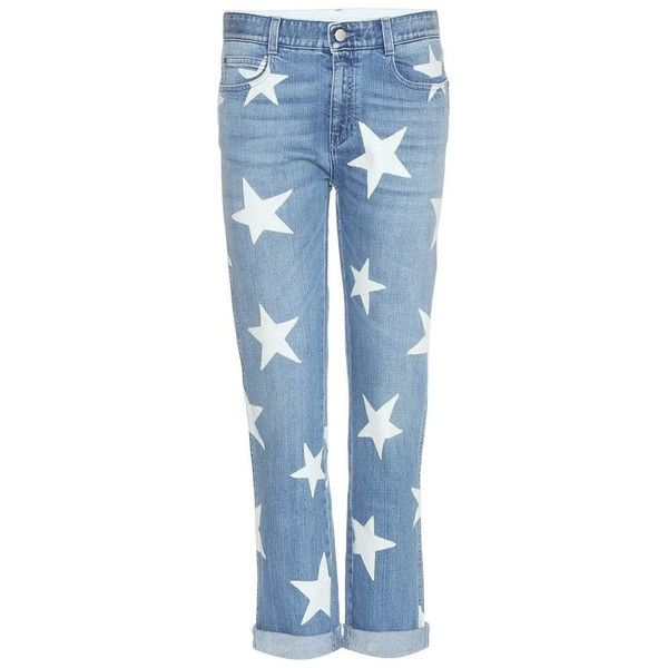 Stella McCartney Tomboy Star Boyfriend-Fit Jeans ($575) ❤ liked on Polyvore featuring jeans, blue, boyfriend jeans, stella mccartney, star jeans, star print jeans and blue jeans