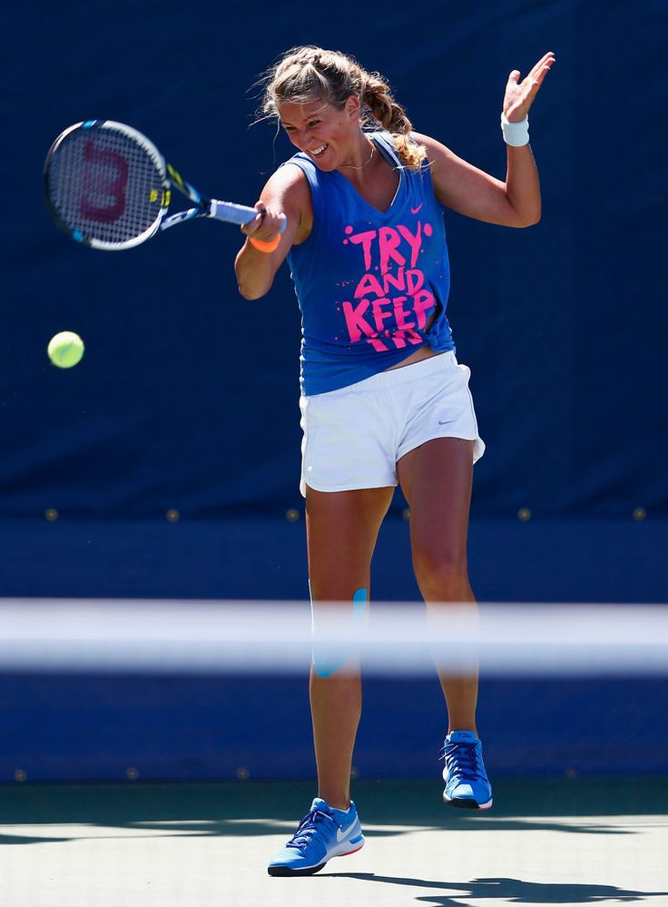 Victoria Azarenka Photos: US Open: Previews. Victoria Azarenka of Belarus in a practice session during previews for the US Open tennis at USTA Billie Jean King National Tennis Center on August 24, 2014 in New York City.