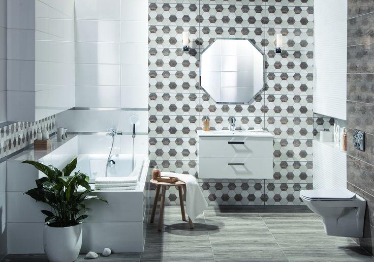 Nowoczesna łazienka z ciekawym dekorem o nietypowym, sześciokątnym kształcie #bathroom #bathroomdecor  #bathroomdesign #lazienka #decor  #newcollection #style  #grey #szary #wnętrza #interiorstyling #interiordesign  #obipolska #obibowarto