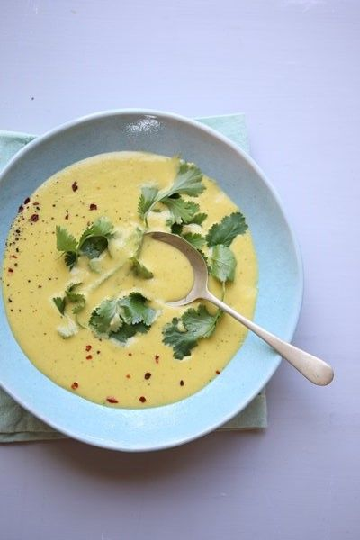 Creamy sweetcorn soup with fresh coriander