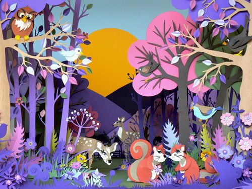 UK advertising campaign for Cadbury's Caramel Nibbles. Cut paper art by Helen Musselwhite.