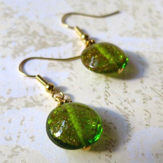 Earrings venetian glass green gold sparkle by planettreasures