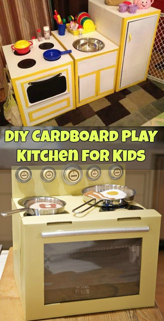 Entertain Your Kids With This DIY Play Kitchen From Recycled Cardboard Boxes!