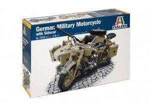 German Military Motorcycle with side car  1:9 Italeri art. 7403