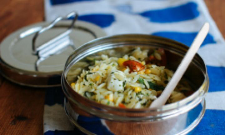 This is a really delicious, light summer pasta salad and is a great way to up your kids' veggie intake! Make loads so it lasts a few lunches!