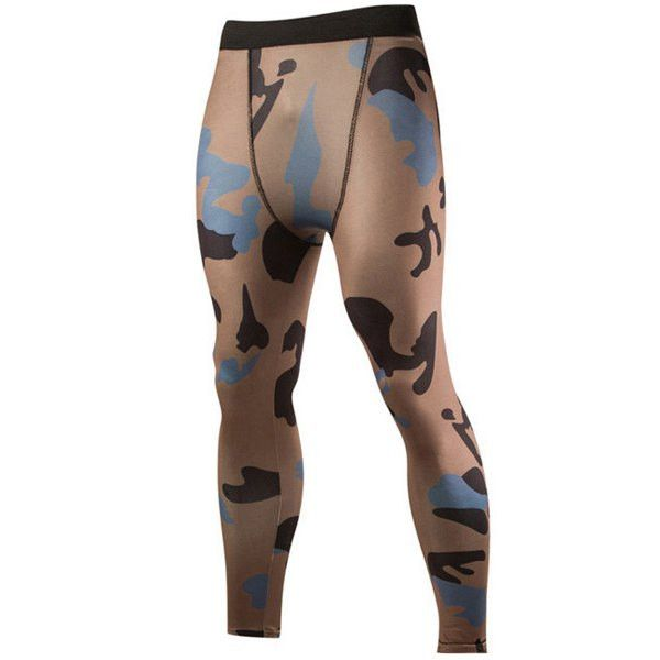Camo Print Air Permeable Skintight Elastic Waist Fitness Pants For Men