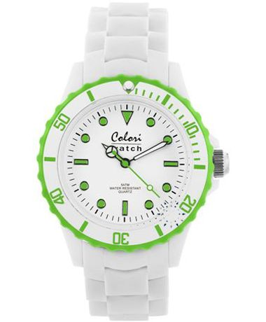COLORI White Lime Green White Silicone Strap Τιμή: 36€ http://www.oroloi.gr/product_info.php?products_id=34898
