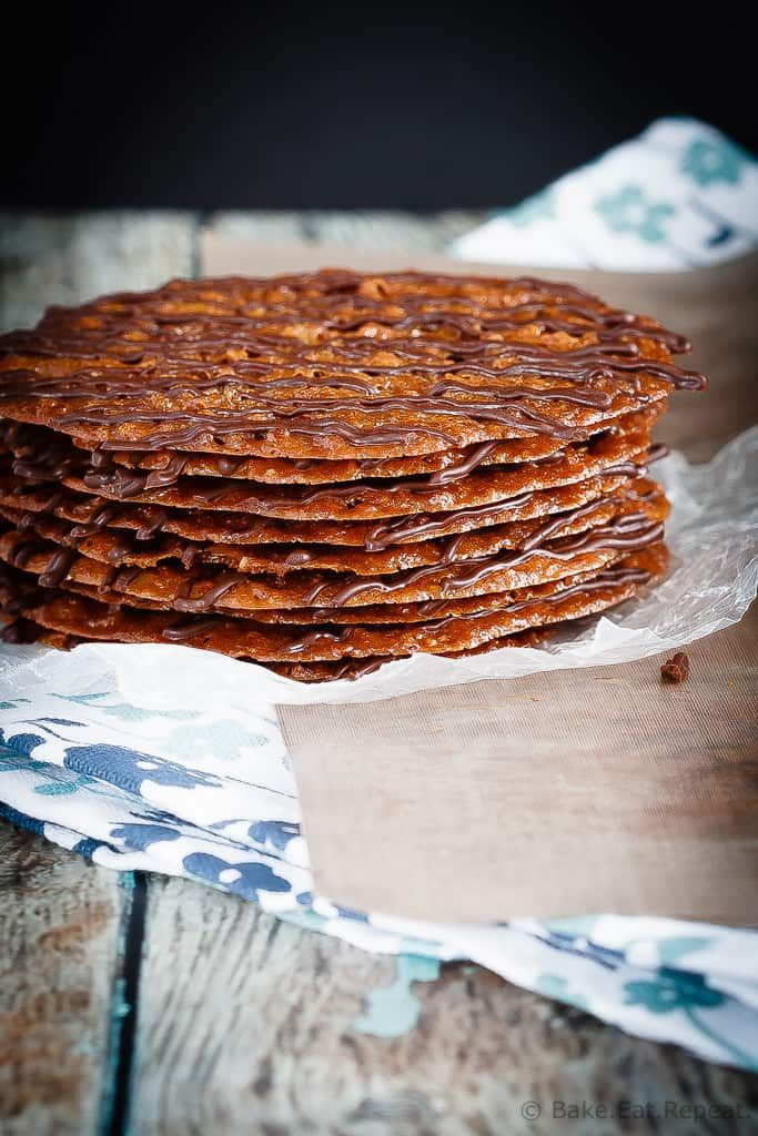 Lacey Cookies - These lacey cookies are surprisingly easy to make - made with ground pecans and drizzled with chocolate, you will have a hard time eating just one!