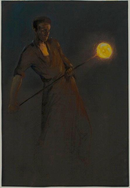 Glasblazer met glasbol in handen   Herman Heijenbrock