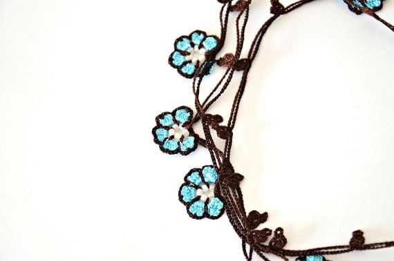 Turquoise Wrap Necklace Oya Beaded Lariat Crochet Wrap