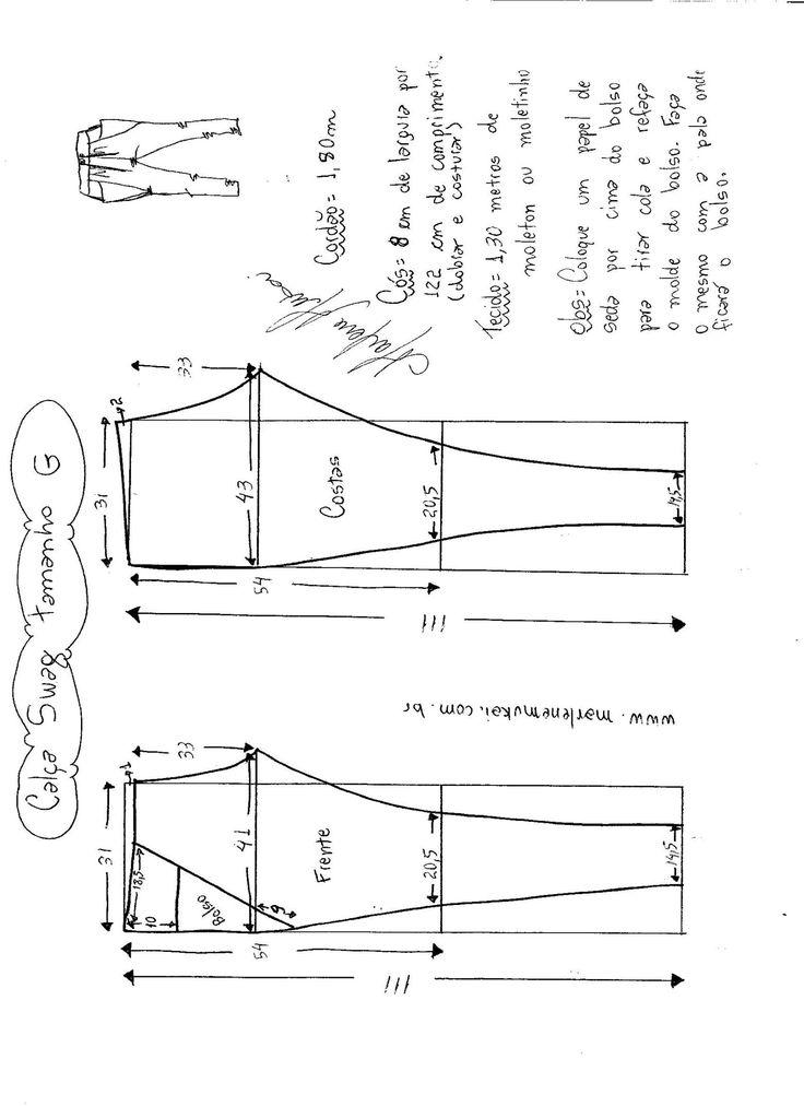 Esquema de modelagem de calça Swag tamanho G.