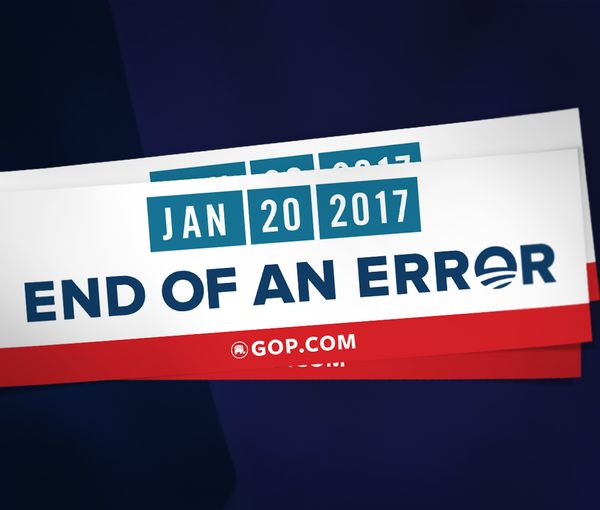 """This special-edition """"End of an Error"""" Republican bumper sticker reminds people of an important date: January 20, 2017. That day is the end of Barack Obama's presidency. It's a perfect message to share on your laptop, water bottle, notebook or car. Donate $5."""