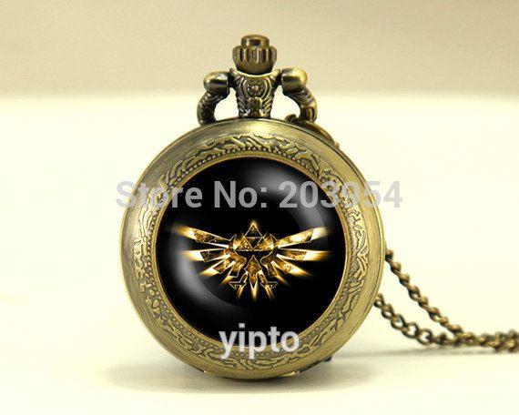 Movie new Zelda Hyrule Crest Pocket Watch 1pcs/lot locket necklace legend of Zelda vintage Pendant fashion jewelry steampunk men #Affiliate