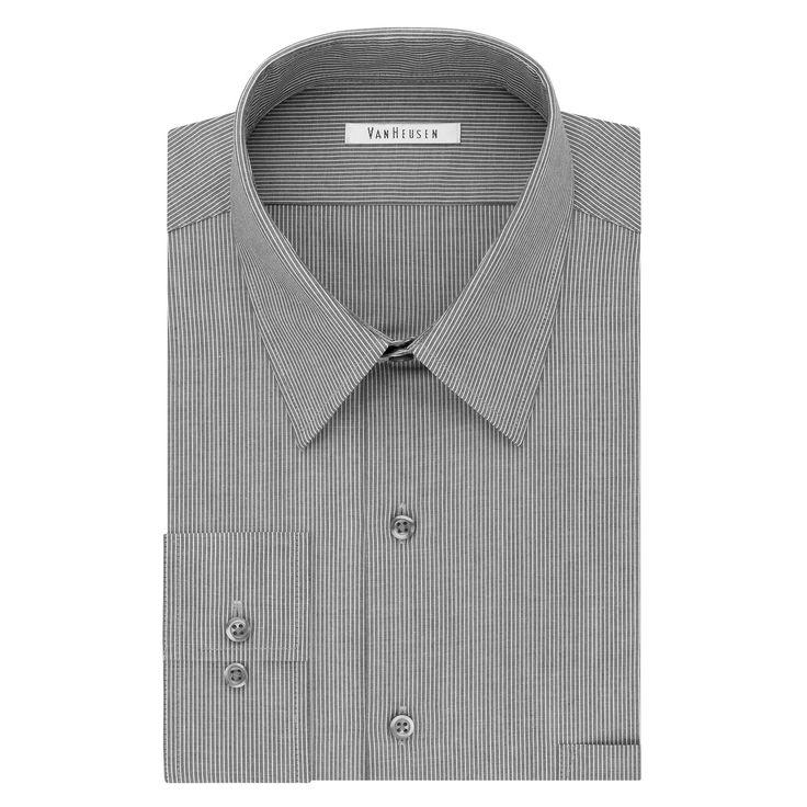 Men's Van Heusen Flex Collar Regular-Fit Dress Shirt, Size: 17.5 36/37, Dark Grey