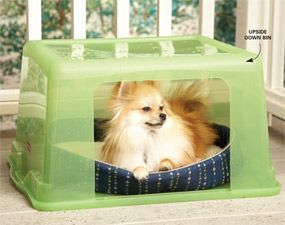 Use a plastic storage bin for a dog house.       A nice little doghouse that will hold up in the rain can cost 100 dollars. But you can make your own for a fraction of the price using a plastic storage bin. Cut a small hole in the bin, flip it over on its lid and stick a dog bed inside it. Your dog will love watching the rain from inside his snug little house, and you'll save quite a bit of money! Don't be surprised if your cat likes it so much you'll have to make one for her too.