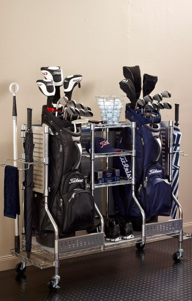 Meticulously crafted with the serious golfer in mind, our Golf Organizers store golf bags, shoes, clubs, and playing gear in a sturdy 3-shelf organization center.