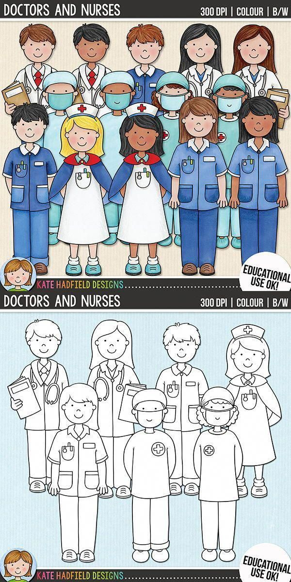 Doctors And Nurses Medical Staff People Clip Art For Teachers This Hand Painted Set Contains Coloured Clipart And Bla Nurse Clip Art Nurse Art Nurse Drawing