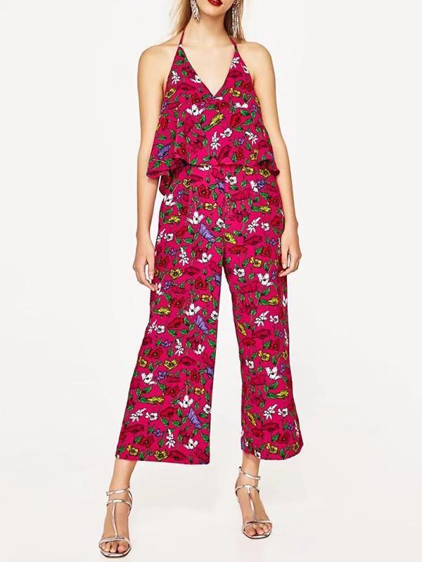 a329463d733 Sexy Floral-Print Off-Shoulder Deep V Neck Strape Jumpsuits – oshoplive