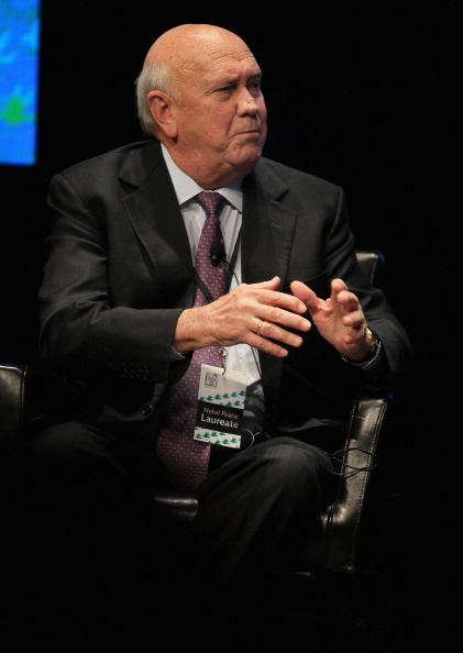 Former South African President Frederik Willem de Klerk speaks during a panel discussion at the University of Illinois at Chicago as part of the...