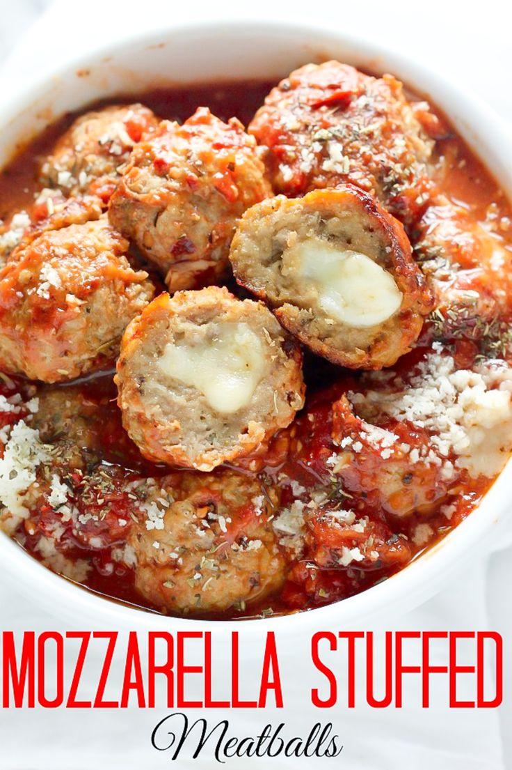 30-Minute Mozzarella Stuffed Turkey Meatballs with Homemade Marinara ...