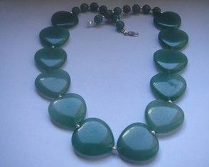 Colar de quartzo verde natural e prata
