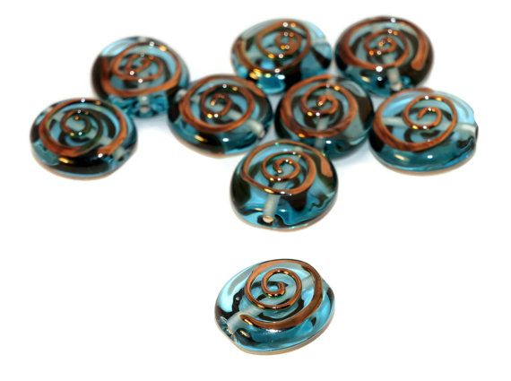 Blue Gold Bronze Czech Glass Lampwork Set by CzechBeadsExclusive, $3.84
