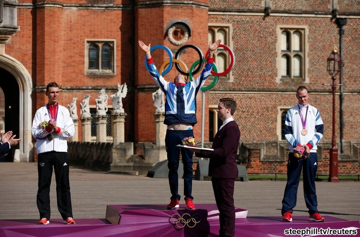 Your 2012 London Olympics Men's TT podium with Bradley Wiggins reveling in glory at becoming Britain's most successful Olympic athlete ever and about to receive his 7th Olympic career medal