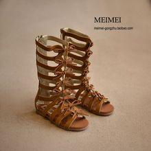 2016 bottes d'été haute - top mode romaine filles sandales enfants gladiateurs sandales bébé bébé sandales filles chaussures de haute qualité(China (Mainland))