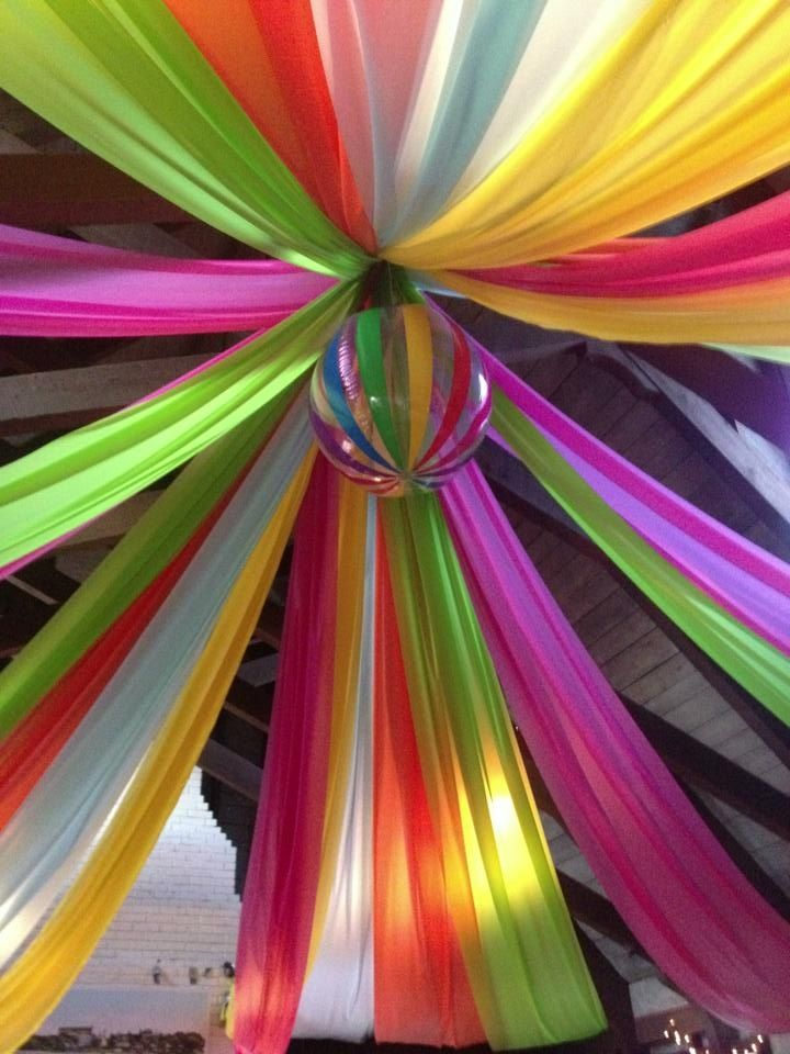 Saw this on Pinterest and executed this for a party!!! It came out great and we got the plastic tablecloths from Oriental Trading, best selection in colors....we used a huge beach ball for the center as this was for a Big event for our beach club!! This takes time, some ladders in a room this scale but it was a hit!!  GG