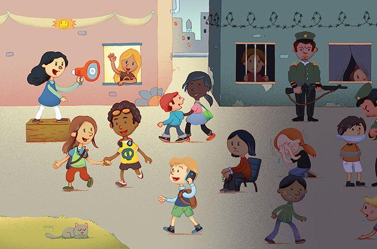 Tegning som er ment å illustrere kontrasten mellom det å leve med alle rettigheter versus det å leve med begrensede menneskerettigheter.