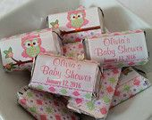 PERSONALIZED Printable Mini Candy Bar Wrappers for Baby Shower - Custom Made Chocolate Bar Party Favors - Pink Green Owl - Baby Girl - G012