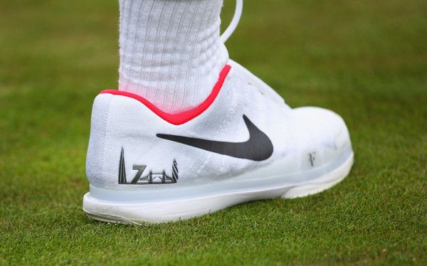 Roger Federer Photos Photos - London skyline on the shoe of Roger Federer of Switzerland during practice ahead of Wimbledon Lawn Tennis Championships at the All England Lawn Tennis and Croquet Club on June 30, 2017 in London, England. - Previews: The Championships - Wimbledon 2017