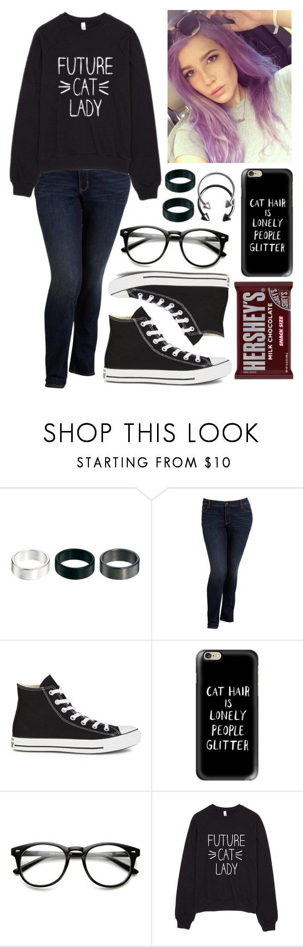 """""""Cat Hair Is Lonely People Glitter"""" by spnlex ❤ liked on Polyvore featuring ASOS, Old Navy, Converse, Casetify, Pieces and Hershey's"""