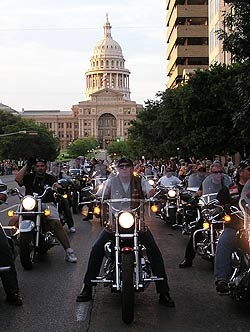 Downtown Austin is taken over the first weekend of June each year with the Republic of Texas Biker Rally