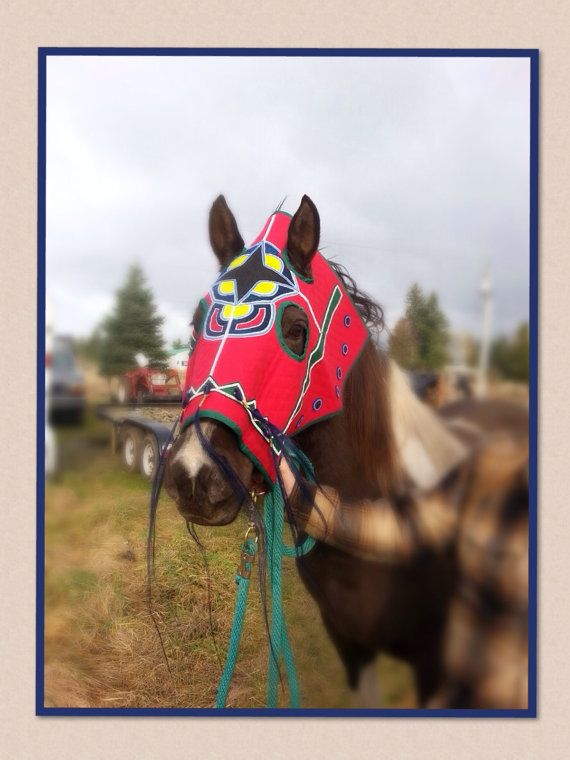 Native American Beaded Full Horse Mask. This pattern is similar to a Cayuse horse mask from the 19th century. A perfect addition to your Native American parade horse regalia, or perhaps you are looking for art representative of the Native American horse tribes from earlier time periods.