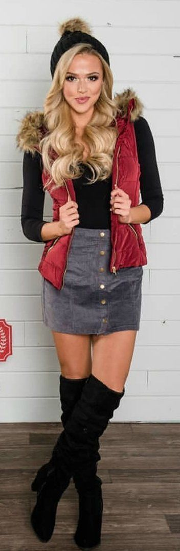 #winter #outfits brown, red, and black topcoat