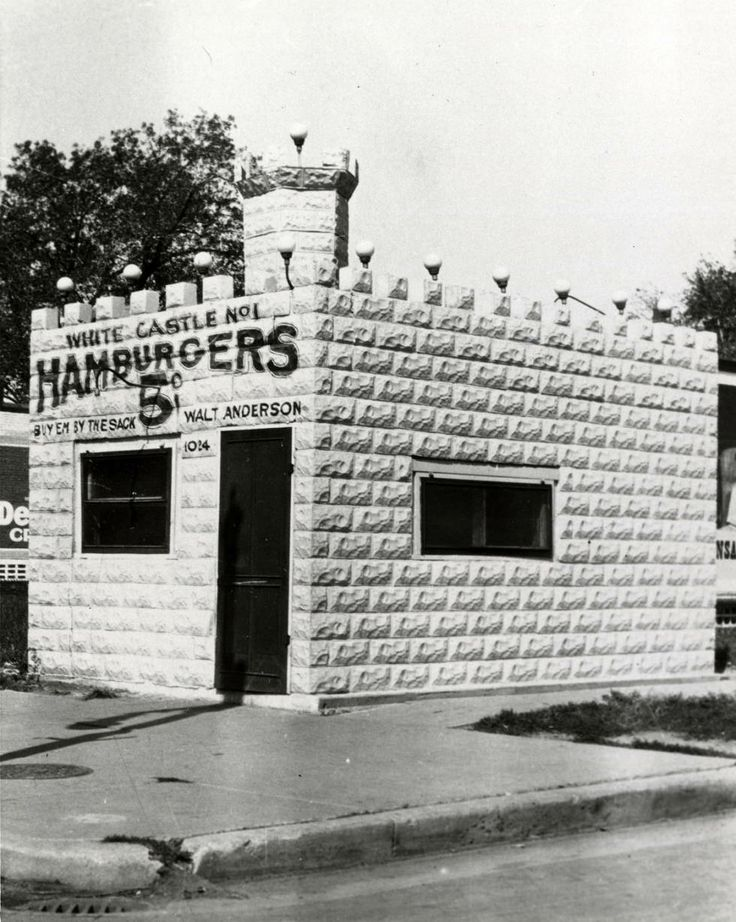 Exterior view of White Castle number 1. Located in Wichita, Kansas. White Castle was founded in 1921 by Walt Anderson and Billy Ingram. This was the first White Castle location. White Castle sign reads 5 cent hamburgers.