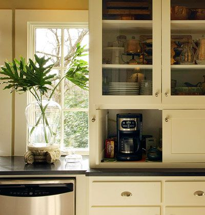 I want an appliance garage for the coffee maker & standing mixer. Store coffee mugs on a shelf above. Would recess the shelves a little to put a rack on the inside of the door to store K cups.